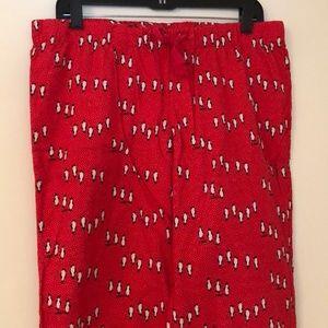 J. Crew size Medium red penguin pajama pants